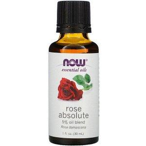 Now Foods, эфирные масла, абсолютное масло розы, 30 мл (1 жидк. унция)