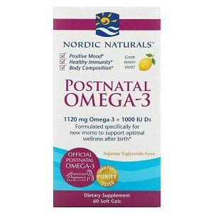 Nordic Naturals, омега-3 для приема после родов, лимон, 1120 мг, 60 капсул
