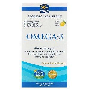 Nordic Naturals, Омега-3, лимон, 690 мг, 180 капсул