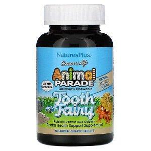 Nature's Plus, Source of Life, Animal Parade, детский жевательный пробиотик от зубной феи с пробиотиками M18, натуральный вкус ванили, 90 таблеток в форме животных