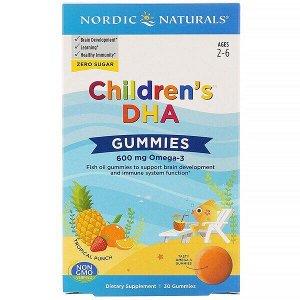 Nordic Naturals, Children's DHA, жевательные таблетки с ДГК, со вкусом тропических фруктов, 600 мг, 30 жевательных таблеток