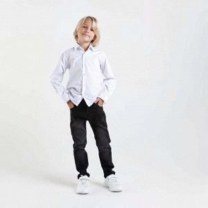 Сорочка для мальчика, цвет белый/синий, рост 110-116 см
