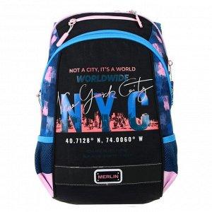 Рюкзак молодёжный, Merlin GL2020, 43 x 29 x 15 см, эргономичная спинка, NYC