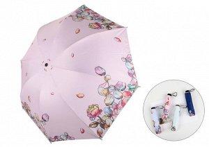 """Механический зонт, принт """"Розы и лепестки"""", цвет светло-розовый"""