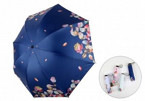"""Механический зонт, принт """"Розы и лепестки"""", цвет синий"""