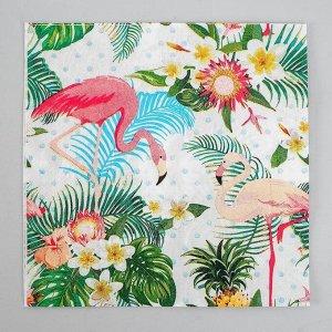 Салфетки бумажные «Фламинго с цветами», 33х33 см, набор 20 шт.