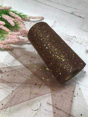 Фатин мелкий с глиттером   / с блестками 15 см*22 метра цвет коричневый