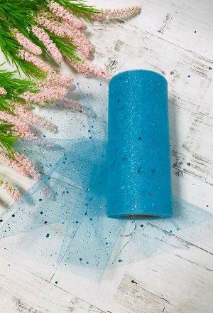 Фатин мелкий с глиттером  / с блестками   15 см*22 метра цвет голубой