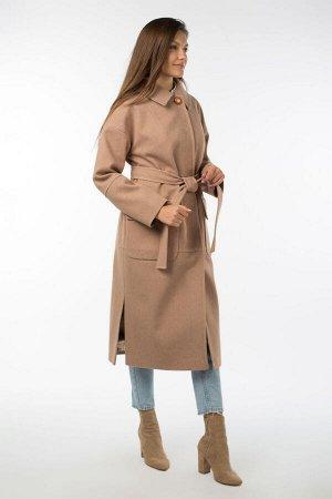 01-10694 Пальто женское демисезонное (пояс) Микроворса Песок