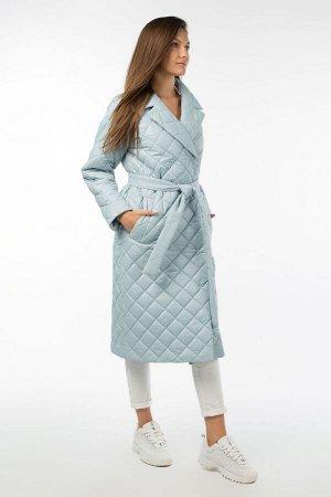 01-10647 Пальто женское демисезонное (пояс) Плащевка голубой