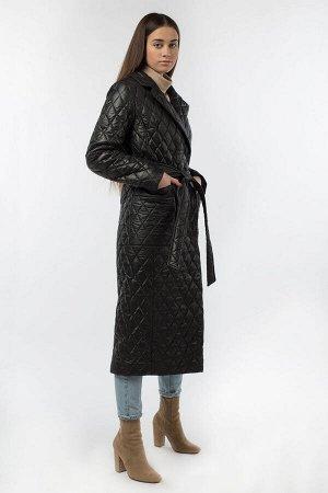 01-10618 Пальто женское демисезонное (пояс) Плащевка черный
