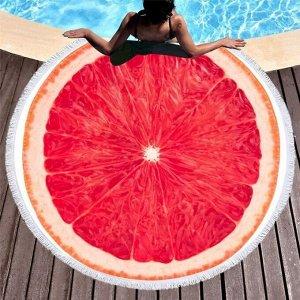 """Полотенце пляжное микрофибра """"Грейфрут"""" 150см"""