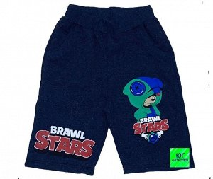 Светящиеся шорты «Brawl stars» тем-синии меланж