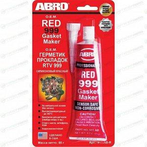Герметик-прокладка ABRO OEM Red 999 Gasket Maker, силиконовый, термостойкий, красный, туба 85г, арт. 911-AB