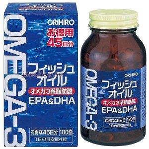 Orihiro Омега-3, курс на 45 дней, 180 капсул