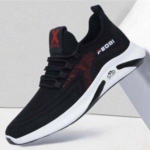 Текстильные кроссовки черные с красным