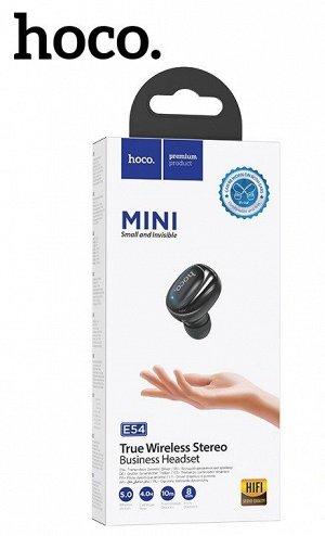 Беспроводная гарнитура наушник HOCO E54 Mia mini, Bluetooth, 40 мАч, черный, Hands-free
