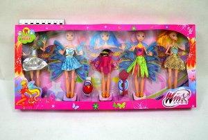 Кукла набор Winx club 26см (5кукол+аксессуары)(гнутся суставы)(№38002)