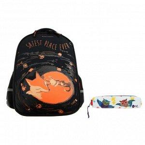 Рюкзак каркасный Bruno Visconti, 38 х 30 х 20 см + пенал, «Волшебные лисы. Безмятежность»