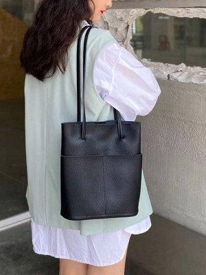 Мягкая сумка из натуральной кожи, цвет черный