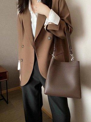 Женская сумка из натуральной кожи, цвет шоколад