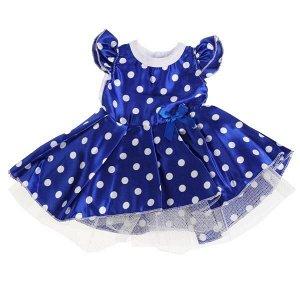 OTF-2101D-RU Одежда для кукол 40-42см атласное платье синий горох КАРАПУЗ в кор.100шт