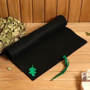 Коврик банный, войлок 150*50см Дубовый лист, черный