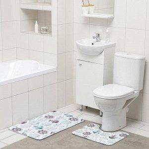 Набор ковриков для ванны и туалета Доляна «Морской», 2 шт: 50?80, 40?50 см