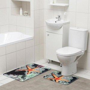 Набор ковриков для ванны и туалета Доляна «Морская звезда», 2 шт: 50?80, 40?50 см