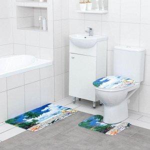 Набор ковриков для ванны и туалета Доляна «Райский пляж», 3 шт: 35?39, 40?50, 45?75 см