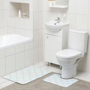 Набор ковриков для ванны и туалета Доляна «Чешуя», 2 шт: 50?80, 40?50 см