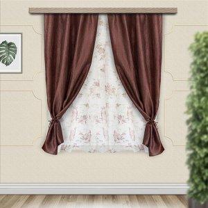 Комплект штор для кухни Романтика 285*160 шоколад