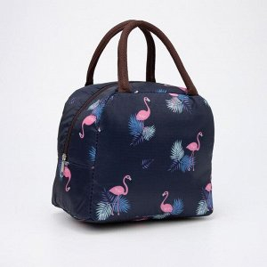 Термосумка, отдел на молнии, наружный карман, цвет синий, «Фламинго»