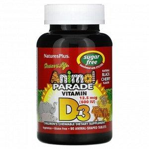 Nature's Plus, Source of Life, Animal Parade, витаминD3, без сахара, с натуральным вкусом черешни, 12,5мкг (500МЕ), 90таблеток в форме животных