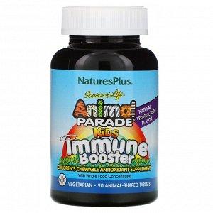 Nature's Plus, Source of Life, Animal Parade, добавка для укрепления детского иммунитета, вкус натуральных тропических ягод, 90животных