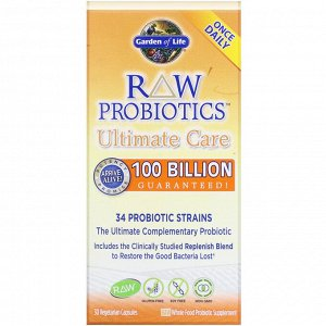 Garden of Life, RAW Probiotics Ultimate Care, 30 вегетарианских капсул