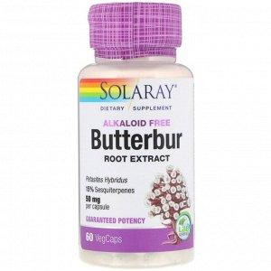 Solaray, экстракт корня белокопытника, 50 мг, 60 растительных капсул
