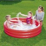 Детский надувной круглый бассейн  красный, 1.22*25 см