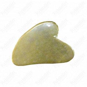 Скребок Гуаша нефритовый сердце, тёмно-зелёный 8 см