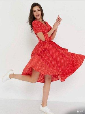 Платье-запах, красный, белый