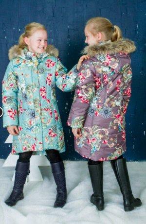 Пальто для девочки фиолет