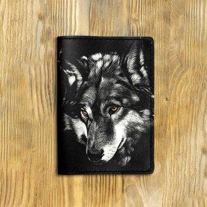"""Обложка на паспорт """"Взгляд волка"""", черная"""