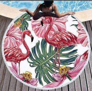 """Полотенце пляжное микрофибра """"Фламинго"""", 150см"""