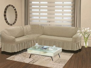Чехол на диван угловой Buslan Цвет Кофейный