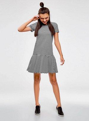 Платье трикотажное с контрастной отделкой