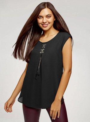 Блузка комбинированная без рукавов
