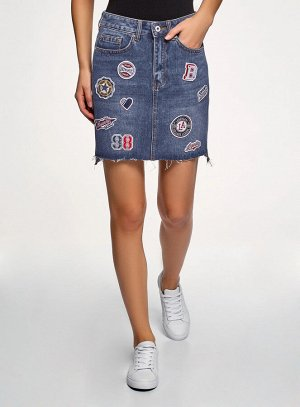 Юбка джинсовая с нашивками