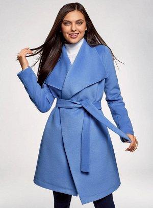 Пальто без застежки с поясом