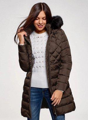 Пальто утепленное с комбинированной стежкой