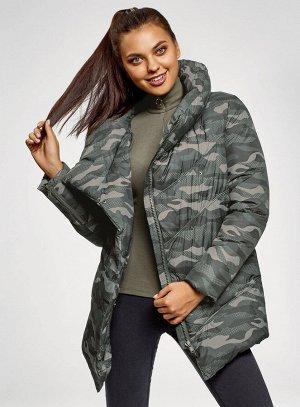 Куртка стеганая с объемным воротником